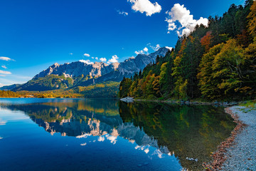 """A beautiful view at the colourful sea """"Eibsee"""" in Germany, Alps, October 2018"""