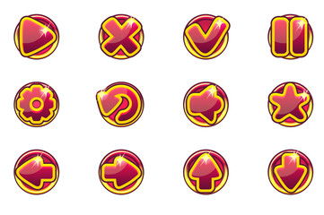 Vector red circles collection set buttons for Ui Game
