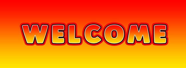 Welcome - gaming text written on orange yellow background