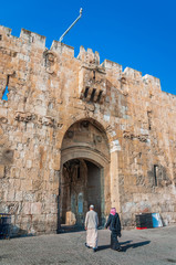 Lion Gate in the Muslim Quarter of Jerusalem