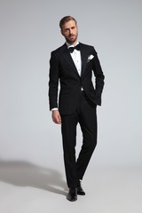 young elegant groom in tuxedo and bowtie