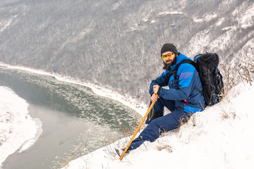 Man enjoying the winter landscape