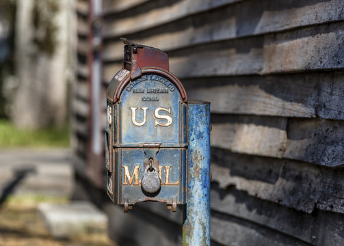 mailbox outside the historic 19th century post office