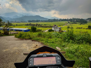 Bike speedometer with stunning landscape