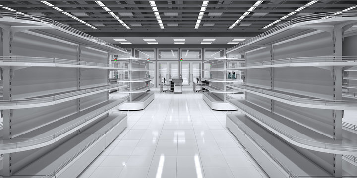 Interior of a supermarket with shelves for goods. 3d image.