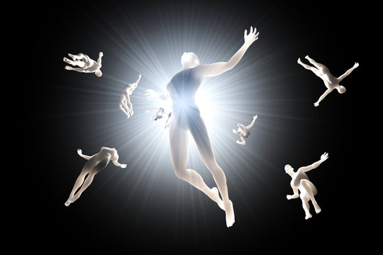 3D rendered illustration of Souls of deceased People streaming into the white light and afterlife of heaven.
