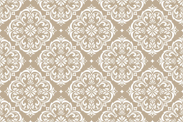 Floral pattern. Vintage wallpaper in the Baroque style. Seamless vector background. White and beige ornament for fabric, wallpaper, packaging. Ornate Damask flower ornament
