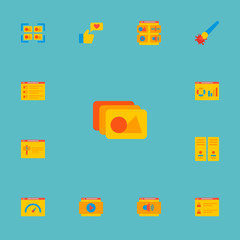 Set of wd icons flat style symbols with team page, website analytics, website content and other icons for your web mobile app logo design.