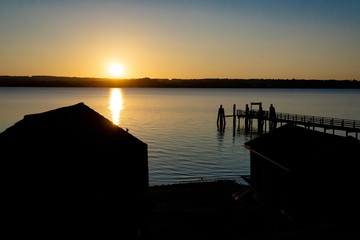 Boathouse during sunset