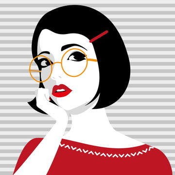 Beautiful young girl wearing glasses