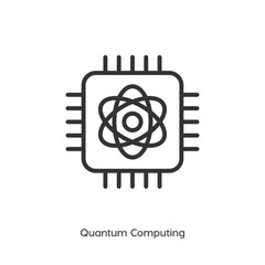 Quantum computing vector icon, cpu symbol. Modern, simple flat vector illustration for web site or mobile app
