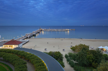 Baltic Sea pier (Molo) in Sopot at dusk, Poland