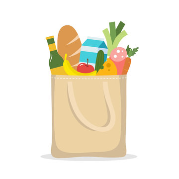 Shopping bag with food. Purchases in eco bag.
