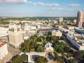 Aerial Cityscape of Downtown San Antonio, Texas Facing Towards East