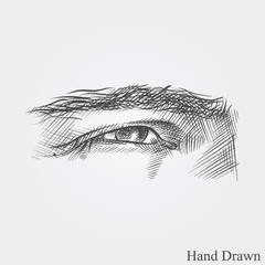 Hand drawn eye. Face parts in sketch style vector illustration isolated on white background.
