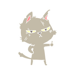 tough flat color style cartoon cat giving thumbs up symbol