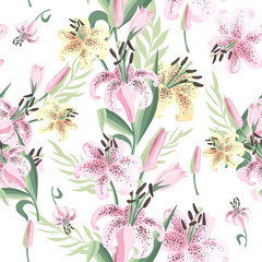 Seamless pattern with pink and yellow lily. Vector illustration