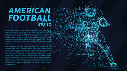American football made up of particles. Football player throws a ball. Vector illustration.