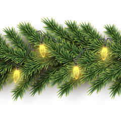 Fir branch with yellow bulb garland horizontal seamless pattern. Vector seamless Christmas tree background.