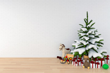 Christmas tree and doll in white room for mockup, 3D rendering