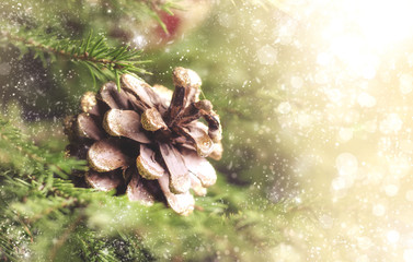 Christmas or New Year blurred bokeh background with festive fir tree and pine cones, selective focus