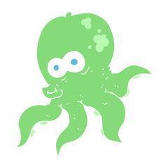 flat color illustration of a cartoon octopus