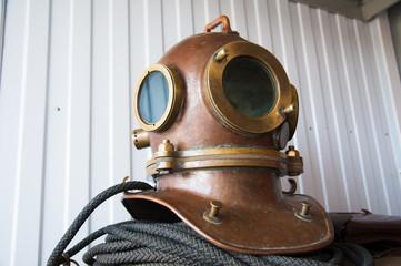 Old vintage deep sea diving suit