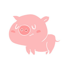 cute flat color style cartoon pig