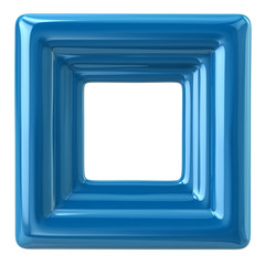 Blank blue photo frame 3d illustration on white background