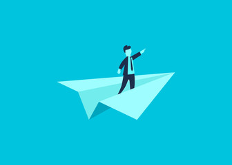 Businessman showing the direction on paper airplane as a symbol of business leadership. Concept of vision, mission or ambitions. Vector illustration