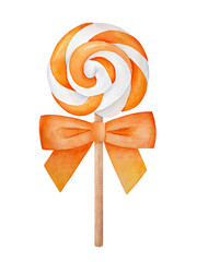 Bright and festive striped lollipop on wooden stick, decorated with big orange satin bow. One single object, round shape, top view. Handdrawn water color graphic painting on white background, cut out.
