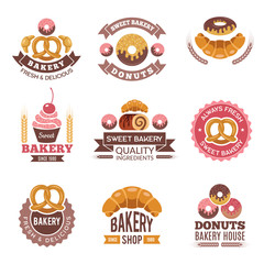 Bakery shop logo. Donuts cookies fresh food cupcakes and bread pictures for vector badges design of bakery market. Illustration of bakery emblem, badge logo cake