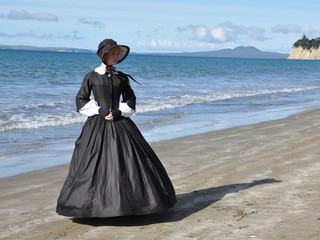Victorian woman on beach