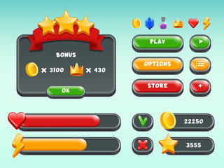 Games gui set. Mobile gaming user interface icons and items colored button status bar ribbons casual build vectors. Illustration of game button graphic, mobile app menu template