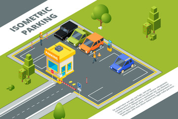 Isometric illustrations of urban paid parking with various cars. Vector car city isometric, auto area parking