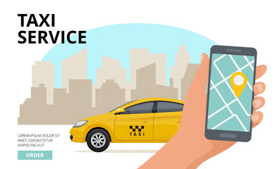 Taxi order. Hand holding smartphone and push button to call business city public urban car vector travel concept. Illustration of taxi mobile app online service