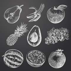 Hand Drawn Fruit Sketches Set. Collection Of Pear, Banana, Pineapple, Grapes, Pomegranate, Apple, Mango, Orange, Watermelon Sketch Elements isolated on chalkboard