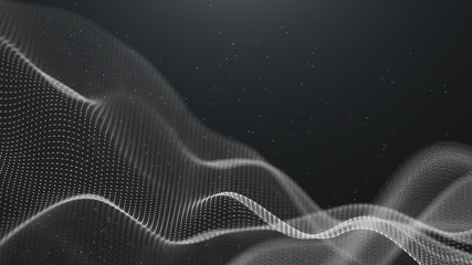 Data technology background. Abstract background. Connecting dots and lines on dark background. 3D rendering. 4k.
