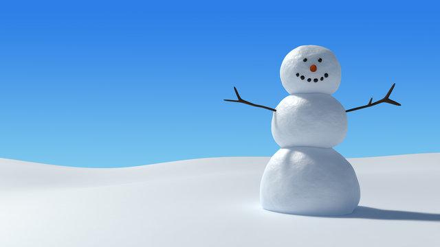 Snowman in snowy field under a clear blue sky