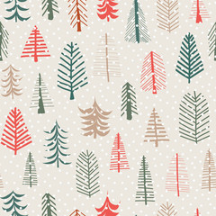 Christmas tree vector seamless pattern repeat tile. Green, brown, red doodle trees and snowflakes. Scandinavian Christmas background for fabrics, paper, card, web banner, invitations, wrapping, decor