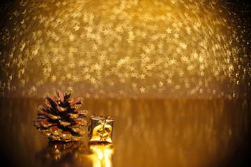 Pine cones on golden background