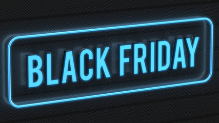 Black friday text surrounded by a blue neon border