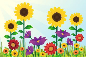Sunflowers Floral Design Background Illustration