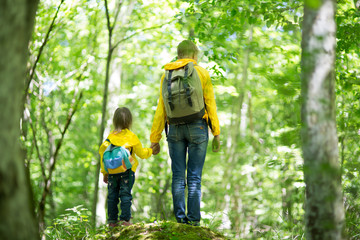 Two children in the forest