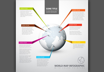 Globe Infographic Layout with Colorful Ribbons