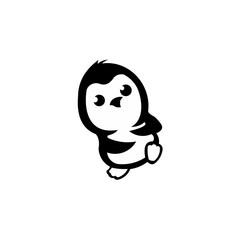 penguin bird animal silhouette cartoon vector icon