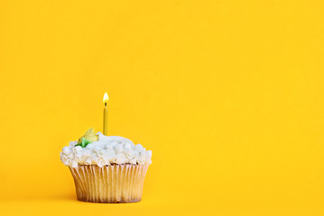 Pretty lemon flavored cupcake with buttercream frosting and decorated with white chocolate shavings and one candle burning. Free space for copy text over a fun yellow background.