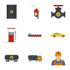Oil petrol icon set. Flat set of 9 oil petrol vector icons for web design
