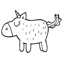 line drawing cartoon cute unicorn