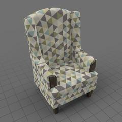 Geometric wing chair